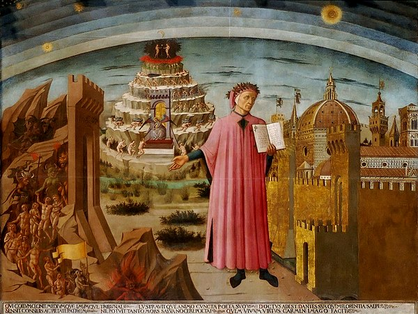 Dante shown holding a copy of the Divine Comedy, next to the entrance to Hell, the seven terraces of Mount Purgatory and the city of Florence, with the spheres of Heaven above, in Michelino's fresco Dante Domenico di Michelino Duomo Florence.jpg