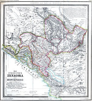Montenegrin Littoral - 1862 map, Montenegrin Littoral (yellow); Principality of Montenegro (red).