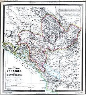 Krivošije uprising (1869) - Map of Montenegro, Herzegovina and the Kotor district of Dalmatia from 1862