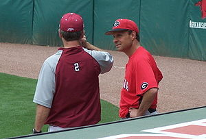 David Perno - David Perno converses with Dave van Horn in Baum Stadium