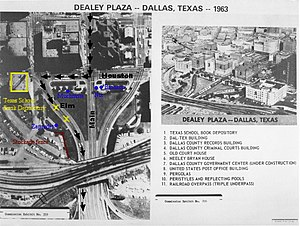 Assassination of John F. Kennedy - An aerial view of Dealey Plaza showing the route of President Kennedy's motorcade