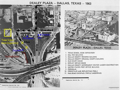 An aerial view of Dealey Plaza showing the route of President Kennedy's motorcade - Assassination of John F. Kennedy