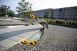 Defense.gov News Photo 110911-F-RG147-491 - Sunflowers lay on a bench during the remembrance ceremony at the Pentagon Memorial on Sept. 11, 2011.jpg