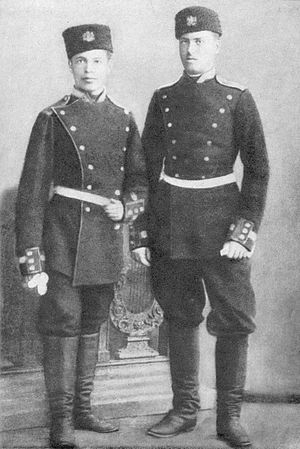 Gotse Delchev - Delchev (right) and his former classmate from Kukush (Kilkis), Imov as officer cadets in Sofia.