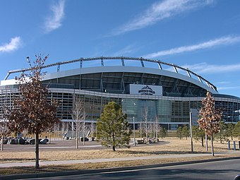 Broncos Stadium at Mile High, home of the Denver Broncos and the Denver Outlaws Denver invesco stadium 1.jpg