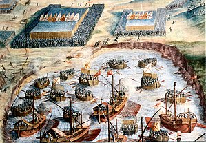 Battle of Ponta Delgada - The Spanish Tercios landing on Terceira. El Escorial Hall of Battles.