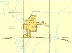 Detailed map of Whitewater, Kansas