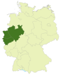 Map of Germany: Position of Nordrhein-Westfalen highlighted