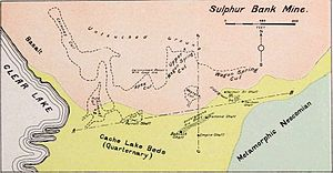 Sulphur Bank Mine - Diagram showing surface cuts and shafts