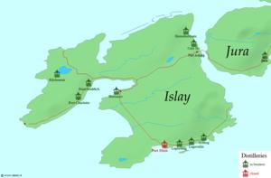 Port Charlotte distillery - Map of distilleries on Islay