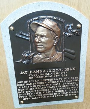 "Majestic Park (baseball) - Dizzy Dean plaque HOF. ""Dean Field"" was named for Dean and his brother Paul ""Daffy"" Dean"