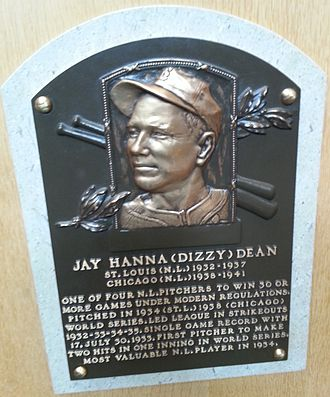 Dizzy Dean - Dizzy Dean's plaque at the National Baseball Hall of Fame and Museum