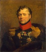 Portrait of Dmitry Golitsyn in dark green military uniform
