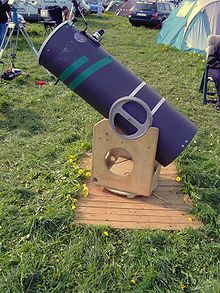 An amateur built Dobsonian telescope of moderate size.