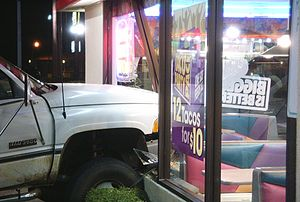 Single-vehicle crash - A Dodge Ram 3500 rams into a Taco Bell in the autumn of 2010