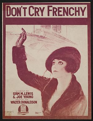 """Don't Cry, Frenchy - Cover of WWI sheet music for """"Don't Cry Frenchy"""""""