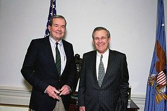 William P. Clark Jr. - Clark with Defense Secretary Donald Rumsfeld in 2001