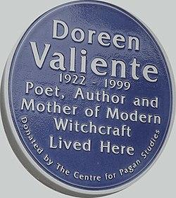 Photo of Doreen Valiente blue plaque