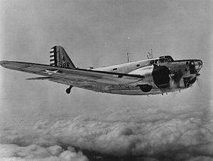 99th Reconnaissance Squadron - A Douglas B-18A Bolo assigned to the 99th Bombardment Squadron (Heavy) on patrol from Zandery Field, Dutch Guiana, 1942.