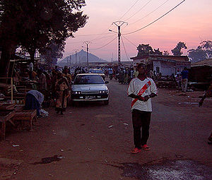 Downtown Ngaoundéré with Mount Ngaoundéré in t...