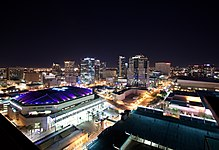 Recent photo of downtown Phoenix lit up at night