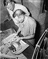 Dr Lauren R Donaldson and Dr Frederick Hase Rodenbaugh, Sr dissecting fish, probably in the mobile laboratory, Bikini Island (DONALDSON 59).jpeg