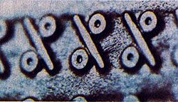 """Fragment of lineprinter cylinderwith the type of """"%"""""""