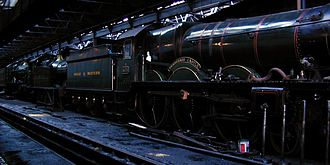 GWR 4073 Class 4079 Pendennis Castle - In the engine shed at Didcot (2001)