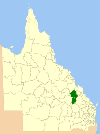 Shire of Duaringa - Location within Queensland