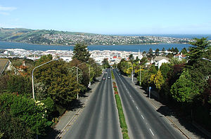 Stuart Street, Dunedin - Looking down Upper Stuart Street from the Roslyn Overbridge, toward the city centre.