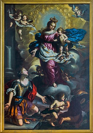 Painting of allegory of the city of Brescia praying the Virgin Mary with Child to free it from the plague by Francesco Paglia in the Cathedral Duomo nuovo of Brescia