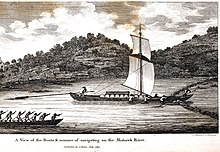 Engraving showing a river with two boats on it. The larger boat is passing through a weir that crosses the entire river. This boat has a mast with two sails. It is being steered by one man at the stern holding a long steering oar. About ten barrels are lashed into its hull. The opposing bank of the river has rock outcroppings. The nearby bank is not visible.