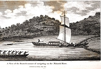 Durham boat - 1807 drawing of a Durham boat (with sails) traveling on the Mohawk River; the boat is passing through a V-shaped rock wing dam similar to eel weirs constructed by Native Americans.