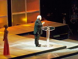Dusty Rhodes (wrestler) - Rhodes at the 2009 WWE Hall of Fame ceremony, inducting the Funk Brothers