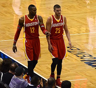 Chandler Parsons - Parsons (right) with the Rockets in March 2014, alongside teammate Dwight Howard