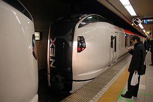Narita Express - Two E259 series trainsets dividing at Tokyo Station, February 2011