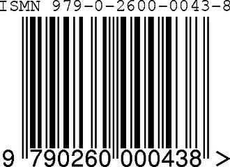 International Standard Music Number - A 13-digit ISMN, 979-0-2600-0043-8, as  represented by an EAN-13 bar code.