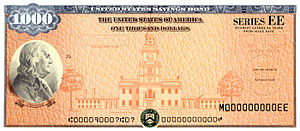 United States Treasury security - $1,000 Series EE savings bond featuring Benjamin Franklin