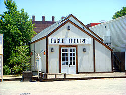 The reconstructed Eagle Theatre in Old Town Sacramento in its exact historic location