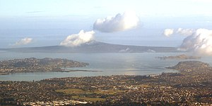 Browns Island (Auckland) - Browns Island at the centre right of this aerial photo