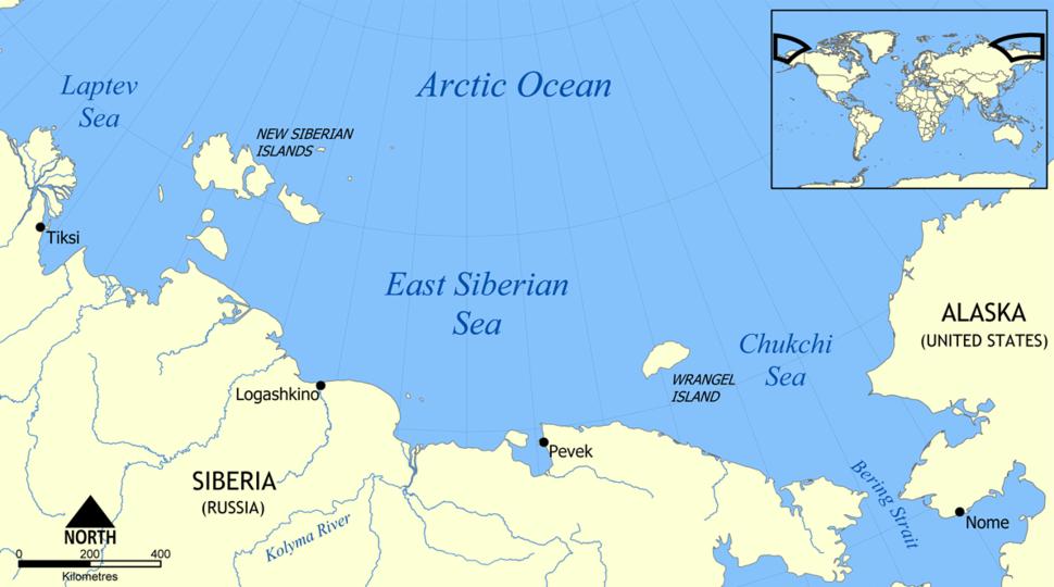East Siberian Sea map