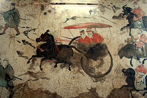 End of the Han dynasty - A section of an Eastern Han Dynasty (25–220 AD) fresco of 9 chariots, 50 horses, and over 70 men, from a tomb in Luoyang, China, which was once the capital of the Eastern Han Empire.