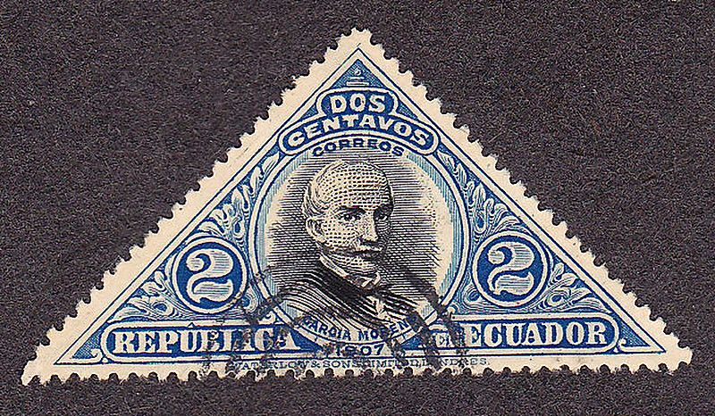 Ecuador postage stamp, 1937, 2c, Triangle shape, blue and black