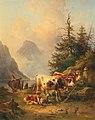 Edmund Mahlknecht - Herd of animals with shepherdess on the lakeside.jpg