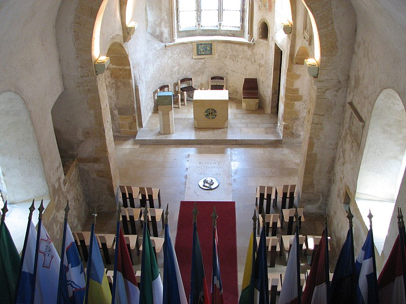Eglise Saint-Quentin in Scy-Chazelles (near Metz, in East of France) with Robert Schuman grave and all the European Union country flags