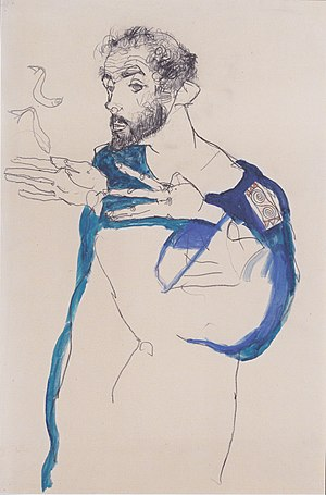 Gustav Klimt - Klimt in a light Blue Smock by Egon Schiele, 1913