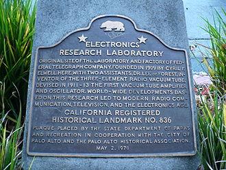 Federal Telegraph Company - California Historical Landmark No. 836 at corner of Channing and Emerson in Palo Alto, California at original location of FTC laboratory