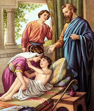 Elisha - Elisha raising the Shunammite's Son, early 1900s Bible Card illustration