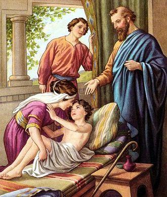 Elisha - Elisha raising the Shunammite's Son, early 1900s Bible Card illustration