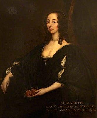 "Amyas Bampfylde - Portrait circa 1640 of Elizabeth Clifton, wife of Sir Amyas Bampfylde. ""Style of Anthony van Dyck"", property of Trustees of Antony House, Cornwall"